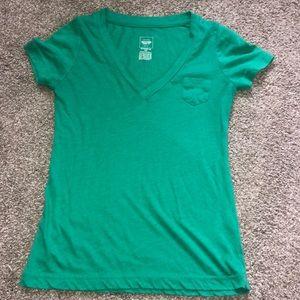Mossimo green v neck pocket shirt